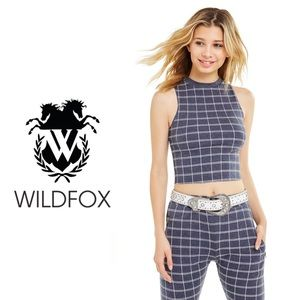 NWT Wildfox Oxford Plaid Halter Crop Top